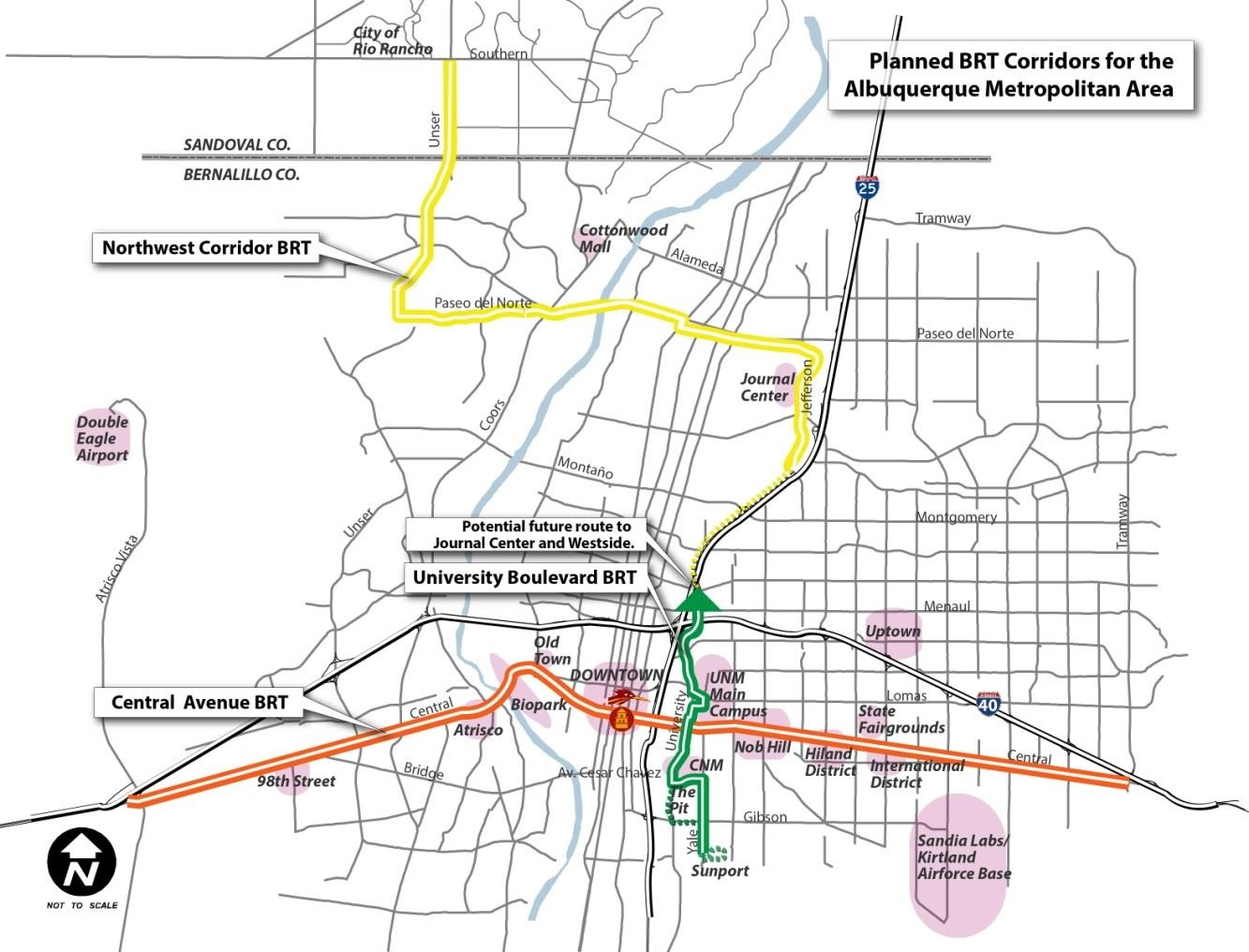 Planned BRT Corridors for the Albuquerque Metro Area