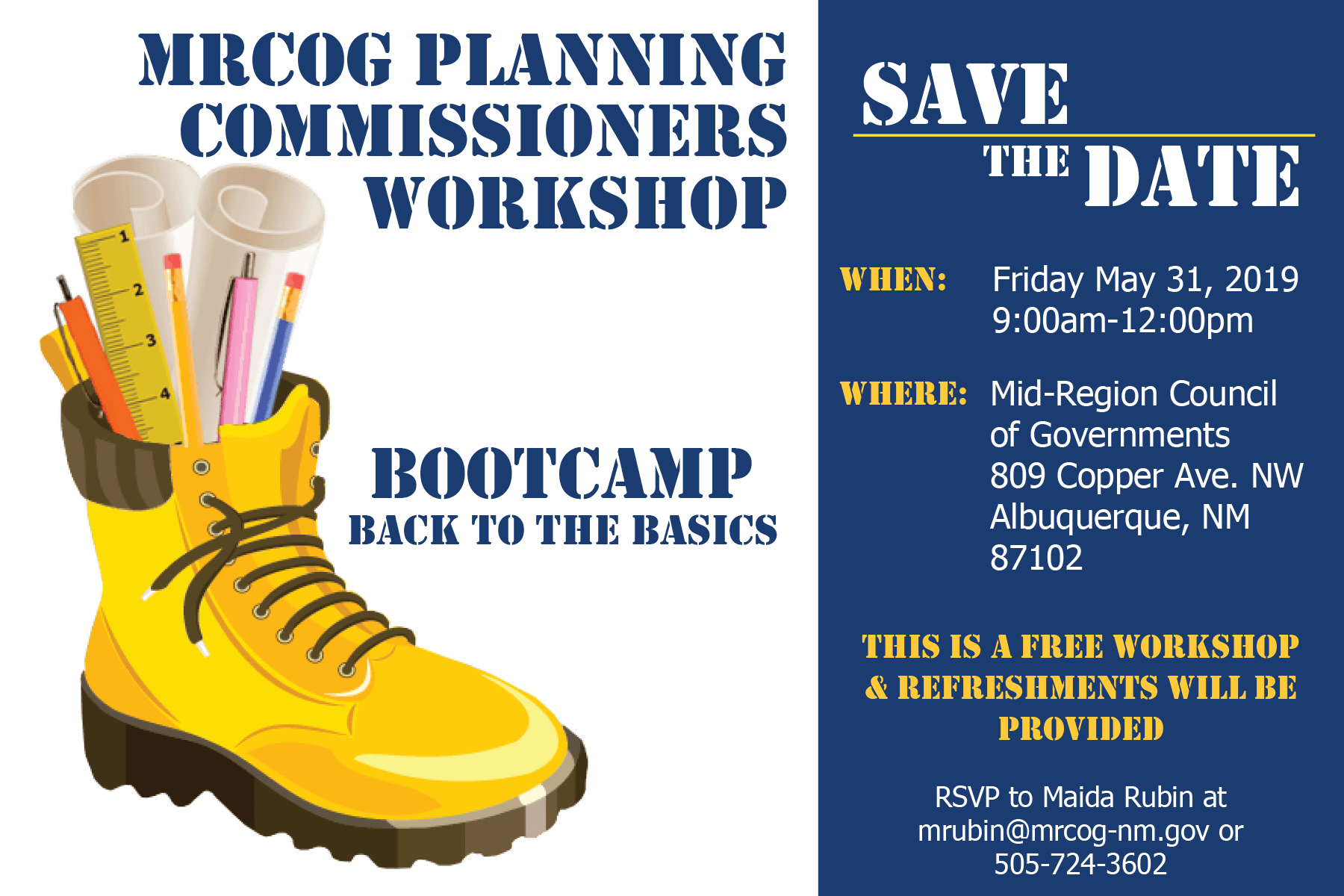 MRCOG Planning Workshop Save the Date 2019